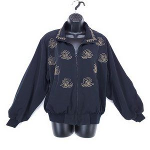 EMILY Bomber Jacket Embroidered Coat Floral Zip M